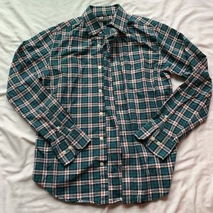 Banana Republic Green & Red Button Down Small